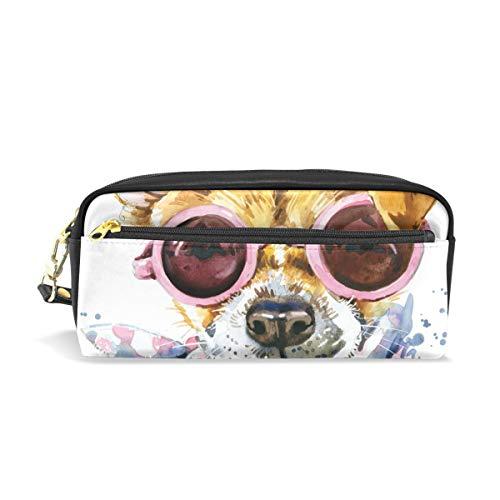 Bonipe Süßer Hund mit Brille Schal Federmäppchen Stifteetui Tasche Tasche für Schule...