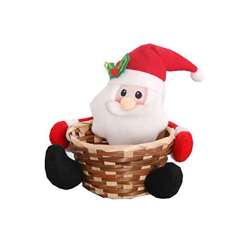 Canasta de Dulces Navideños Canasta de Almacenamiento de Dulces de Feliz Navidad, Canasta de Decoración de Mesa de Escritorio Navideña para Decoración Navideña