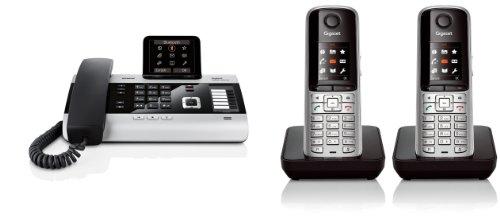 Siemens Gigaset DX800A DUO SET mit 2x S79H Mobilteil – ISDN, Anrufbeantworter, Bluetooth® ECO DECT, schwarz