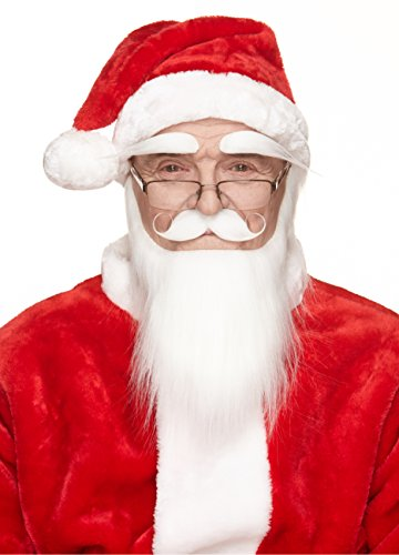 Mustaches Self Adhesive, Novelty, Santa Claus Beard, and Eyebrows, Saint Nicholas Costume Accessory for Adults White