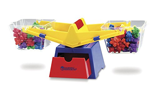 Explore volume and compare solids and liquids with this sturdy bucket balance including weights and counters