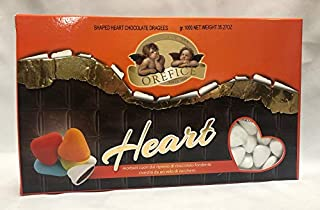 White Italian imported sugar coated CHOCOLATE Confetti candy HEART SHAPE DRAGEE for Weddings, Bridal Showers, Anniversaries Orefice 2.2 LB - 1KG GLUTEN FREE