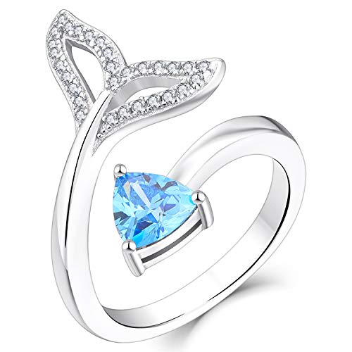 YL Whale Tail Ring 925 Sterling Silver cut Blue CZ Ocean Fishtail Mermaid Ring for Women (Size L1/2)