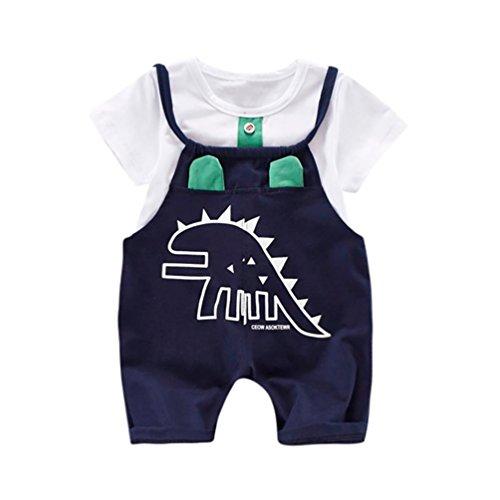 PAOLIAN Conjuntos para bebé niños Unisex Ropa para recién Nacidos Verano Camisetas + Tirantes de Pantalones Corta para bebés niño Impresion Dinosaurs de 12 Meses 18 Meses 24 Meses 3 años