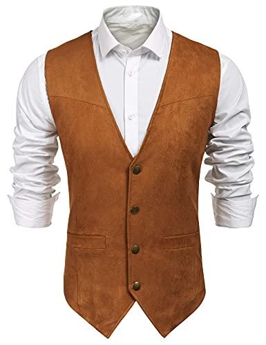 COOFANDY Men Faux Suede Vest Lightweight Sleeveless Vest Jacket Brown
