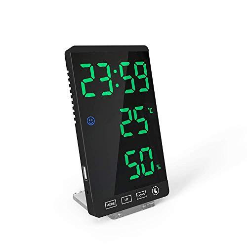 HCFSUK Espejo Reloj meteorológico Higrómetro de Espejo Multifuncional, Alarma de Espejo Estación meteorológica de Superficie Higrómetro Termómetro