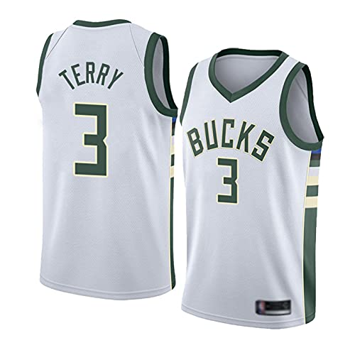 HTTC Bücks # 3 Tërrÿ Men's Basketball Jersey, Uniforme de Equipo Personalizado, Letras y números prensado en Caliente Negro/Blanco/Verde S-XXL White-L