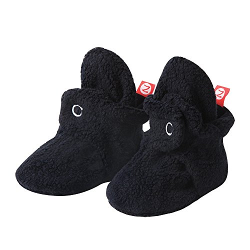 Zutano Cozie Fleece Baby Booties, Unisex Baby Shoes for Infants and Toddlers, 3M, New Black