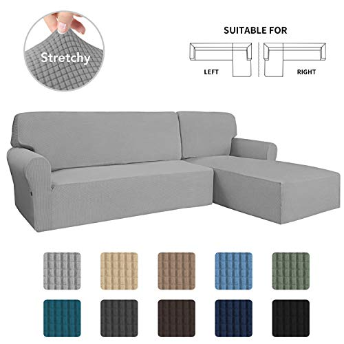 Easy-Going Stretch Sofa Slipcover 2 Pieces L-Shaped Sofa Cover Sectional Couch Cover for Living Room Jacquard Fabric Chaise Lounge Slipcover with Elastic Bottom for Dogs Kids Pets(Large Light Gray)