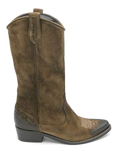 Latika Camp04 Wildleder-Stiefel Schlamm Reißverschluss Absatz 4 cm - Schuhgröße 40 Farbe Schlamm