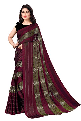 Sourbh Chiffonfolie bedruckt Sari für Frauen mit Blusenteil - Rot - Einheitsgröße