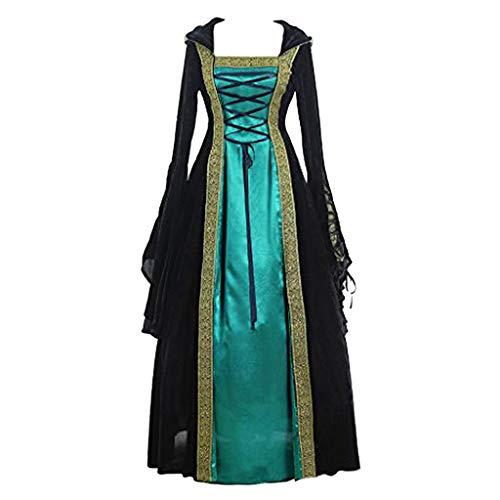 SHOPESSA Renaissance Dress with Hood Women Halloween Fortune Teller Costume Trumpet Sleeves Hooded Gothic Medieval Dress Green