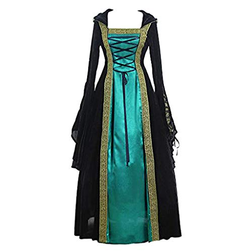 PPangUDing Mittelalterkleid Damen Vintage Gothic Steampunk Viktorianischen Prinzessin Renaissance Mit Kapuze Gericht Stil Gehrock Uniform Hexenkostüm Abendkleider Halloween Cosplay Kostüm