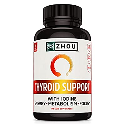 Zhou Nutrition Thyroid Support Complex with Iodine - Energy, Metabolism & Focus Formula - Vegetarian, Soy & Gluten Free - 'Feel Like Your Old Self Again'