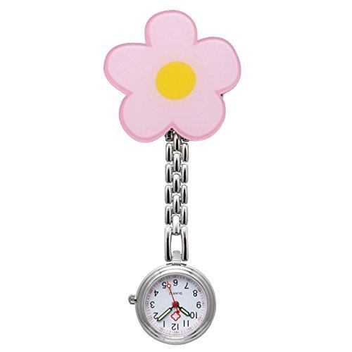 JSDDE Uhren Krankenschwesteruhr FOB Uhr Pflegeruhr Pulsuhr Ketteuhr Ansteckuhr Schwesternuhr mit Clip Analoge Quarzuhr Taschenuhr (Blume)
