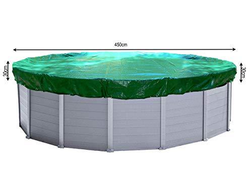 QUICK STAR Abdeckplane Pool Rund Planenmaß 510cm. Passend für Poolgröße 410-450cm. Winterabdeckplane Poolabdeckung 200g/m²