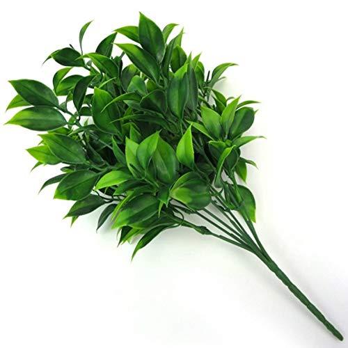 HCHD 7 sucursales Plantas Artificiales Verdes para arbustos de jardín Hierba Falsa Eucalyptus Naranja Hojas de Hojas de imitación para la decoración de la Tienda de hogar