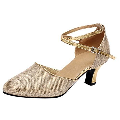Dorical Runde Zehen Hoch Absatz Schnalle Pumps Glitter PU Silber Party Tanzschuhe Damen Brautschuhe/Standard Latin Dance für Mädchen (Bitte bestellen Sie eine Nummer grösser)(Gold,40 EU)