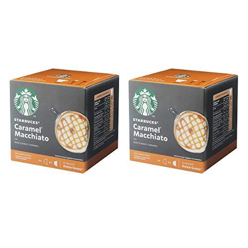 Nescafé Dolce Gusto Starbucks Caramel Macchiato 2er Set, Latte Macchiato mit Karamell, Kaffeekapsel, Röstkaffee, 2 x 12 Kapseln