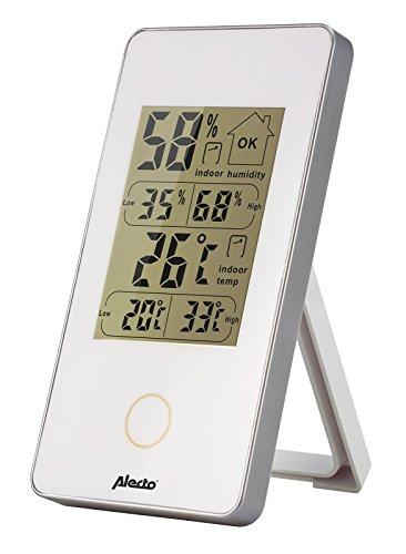 Alecto WS-75 WS-75, weerstation binnen, temperatuur, hygrometer, wit, 6,2 x 10 x 10 cm