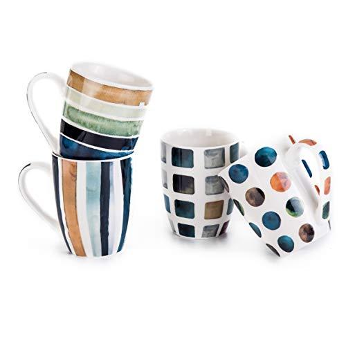 MACHUMA Set of 4 11.5oz Marble Patterns Coffee Mugs, Ceramic Tea Cup Set.