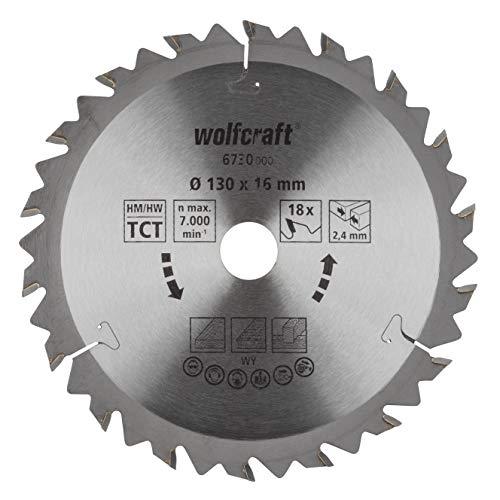 Wolfcraft 6730000 Disco de Sierra Circular HM, 18 dient, Serie marrón Pack 1, 130x16x2.4mm