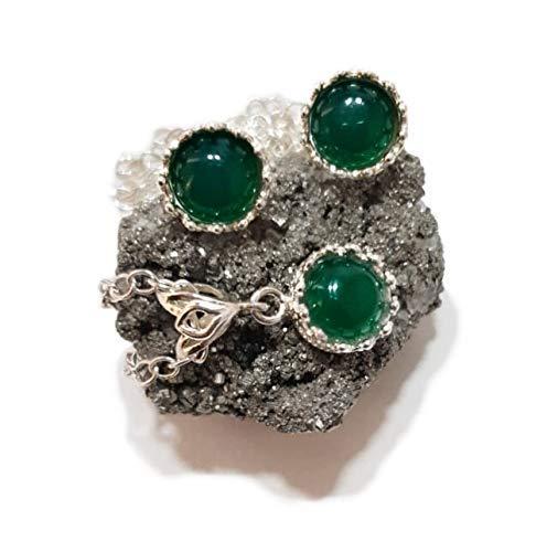 """Conjunto """"Reina"""" de Plata Esterlina 925: Collar y Pendientes con Ónix Verde (Piedra Natural)"""