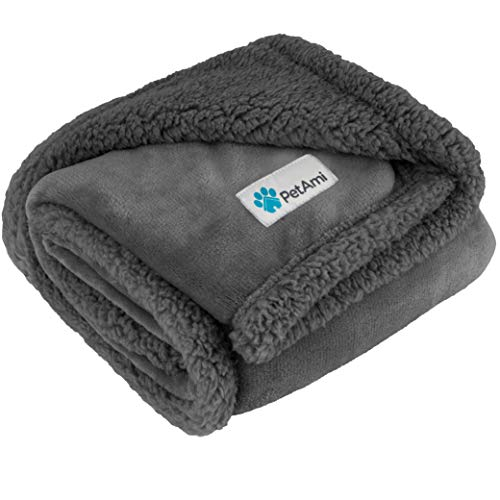 Price comparison product image PetAmi Waterproof Dog Blanket for Medium Dogs,  Puppies,  Small Cats / Soft Sherpa Fleece Pet Blanket Throw for Sofa,  Couch / Thick Durable Pet Bed Cover Floor Mat 30 x 40 inches (Grey Grey)