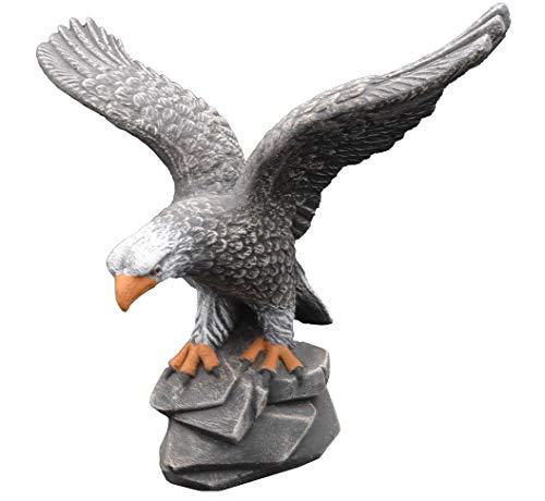 gartendekoparadies.de Massiver Stein - Adler Vogel Steinadler aus Steinguss frostfest (Mehrfarbig)
