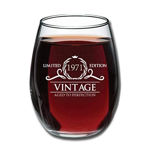 Zaclay Good-Handheld Jahrgang 1971 Weingläser Upgrade Geätzt Milchglas - Jahrestag Neuheit Muttertagsgeschenke White 350ml
