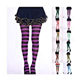 Memeishop Christmas Halloween Striped Stockings Full Length Tights Stockings for Women Girls Tights Footed Pantyhose