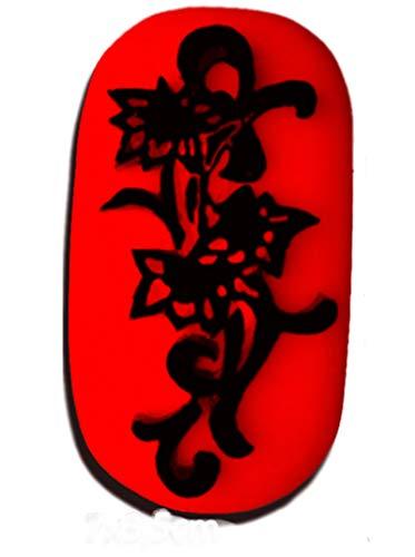 Pierre Tatouage Temporaire Ephémère Magic Tattoo Fleur 7 cm x 3,5 cm (pierre seule sans kit encreur recharge 20 ml+encreur disponible sur amazon magic tattoo)