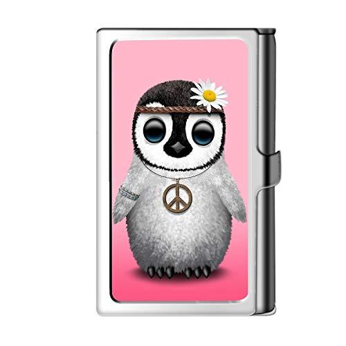 Porta tarjeta de visita con diseño astillado, caja de crédito con nombre de cartera de acero inoxidable para hombres y mujeres-pingüino