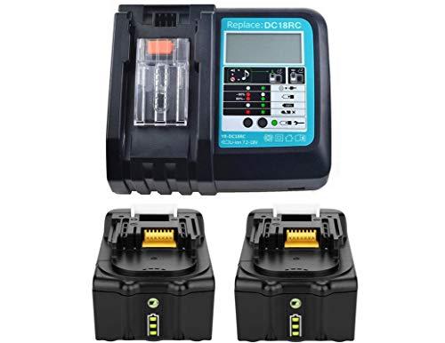 Reemplazo Makita Cargador con 2X Batería 18V 5.0Ah para Makita Radio BMR100 BMR102 DMR100 DMR110 DMR101 DMR103B BMR104 BMR103 DMR104 DMR105 DMR106 DMR102 DMR109 DMR108 DMR107 Radio 5000mAh