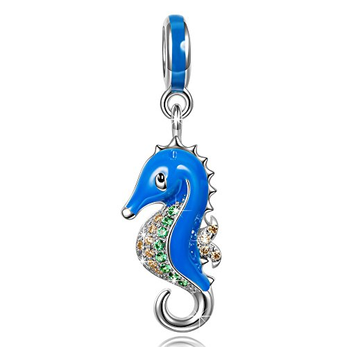 NINAQUEEN 925 Sterling Silver Blue Dangle Fish Animals Charms for Bracelet Necklace Jewelry for...
