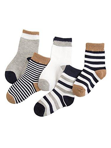 Camilife Camilife 5 Paar Baby Kleinkind Jungen Mädchen Baumwolle Socken Set Babysocken Weich Süß und Lieblich - Gestreift Dunkelblau 4-6 Jahre alt