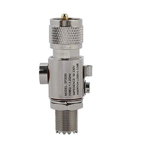 ASHATA Blitzschutz Überspannungsschutz, UHF-M zu UHF-F Blitzableiter Coaxial Lightning Surge Protector,1-1.2GHz Blitzüberspannungsschutz Antenne Arrestor 200W,Unterstützt alle Band Blitzschutz