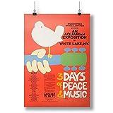 Vintage Music Art Poster Woodstock A0 A1 A2 A3 A4 Satin