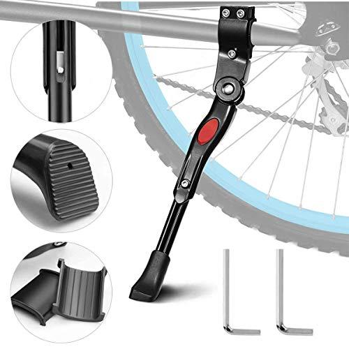 HHOOMY Soporte de Bicicleta Soporte de aleación de Aluminio con Soporte Lateral Ajustable para Bicicleta con Cierre Oculto con Resorte, para Bicicleta con diámetro de Rueda de 24-27 Pulgadas