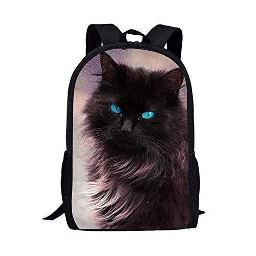 Black cat Maple Leaf White cat British Short School Bag Custom map Student Children Small Satchel Pen Bag Backpack Snack Bag-5