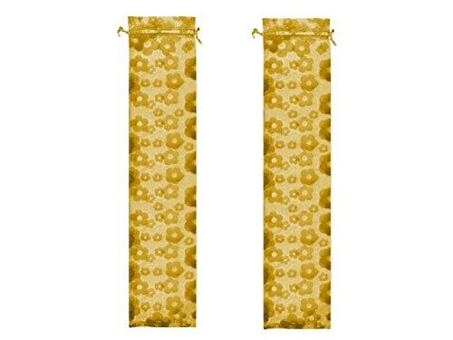Lote de 100 Bolsas de Tull Flores Color Oro.Ideal para Abanicos. Complementos. Detalles de Bodas y Eventos. 7 x 28 cm