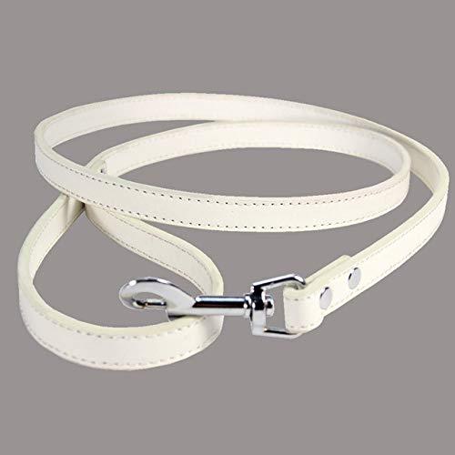 LILONGXI huisdier veiligheidsgordel, wit lederen riem voor honden 120 Cm, lichtgewicht en handige metalen gesp voor meer directe link met kraag voor kleine en middelgrote hond outdoor training veiligheid touw, L