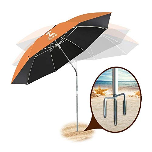 AosKe Patio Umbrella or Beach Umbrella Portable&Windproof 360 Tilt Mechanism Resistance to 100% Harmful Sunlight - Orange