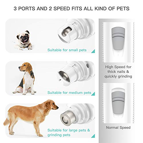 INVENHO Pet Nail Grinder Electric Paw Trimmer Clipper Small Medium Large Dogs Cats Small Animals Portable & Rechargeable Gentle Painless Paws Grooming Trimming Shaping Smoothing