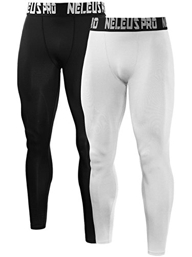 Neleus Men's 2 Pack Compression Pants Running Tights Sport Leggings,6019,Black,White,M,EU L