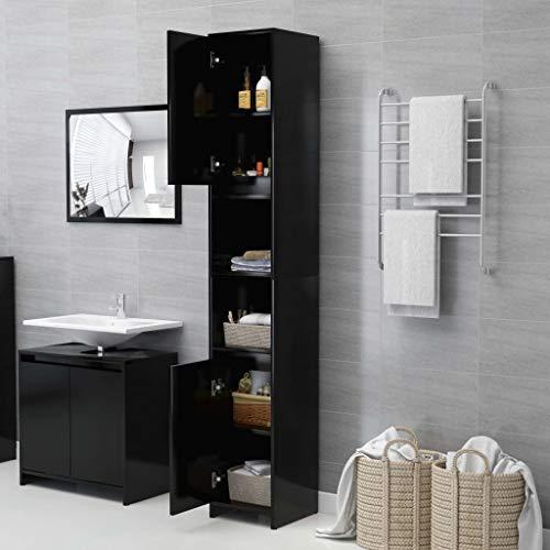 Ausla Mueble alto para el baño, armario de columna de baño, moderno, con 6 compartimentos y 2 puertas, negro, 30 x 30 x 183,5 cm