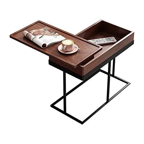Mesa auxiliar para sofá, mesa auxiliar para refrigerios, bandeja giratoria, esquina de almacenamiento para escritorio lateral, fácil de mover, al lado de la cama, sofá, estación de trabajo portátil