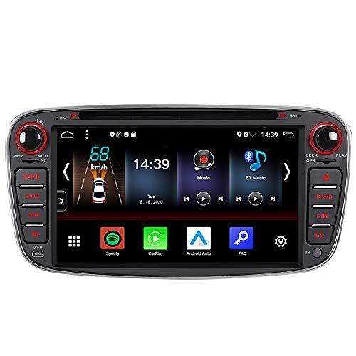 Android 10 Carplay Android Auto 2GB+32GB Dual-Tuner-Radio Bluetooth 5.0 DSP DVD GPS Navigation für Ford Focus mk2 Mondeo Cmax Galaxy Smax WiFi 4G USB Autoradio Navi AV-Out (Schwarz)