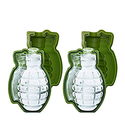MoldFun 2-Pack Grenade Ice Mold Life Size 3D Hand Grenade Soap Bath Bomb Whisky Ice Cube Ball Maker Tool, Nice Gift for Drinker and Military Fans