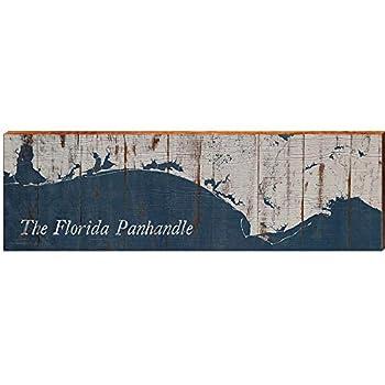 MILL WOOD ART Florida Panhandle Map Home Decor Art Print on Real Wood  9.5 x30
